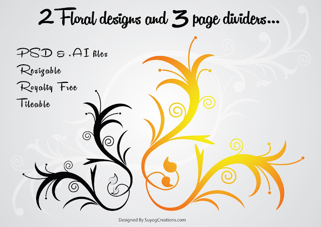 Floral designs and page Dividers Vector