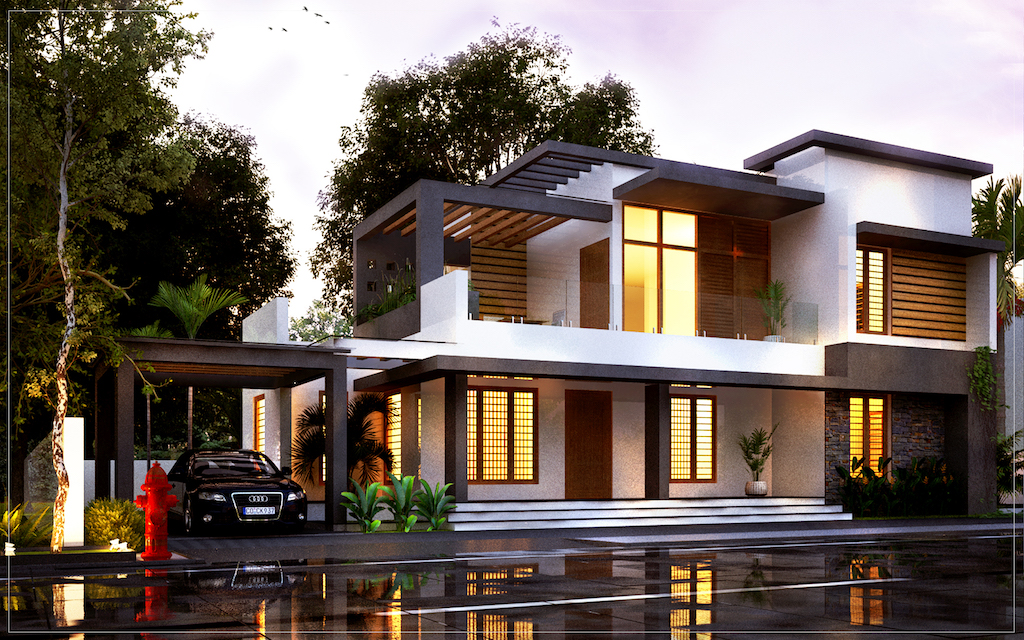 4 Bed room residence in double story contemporary style