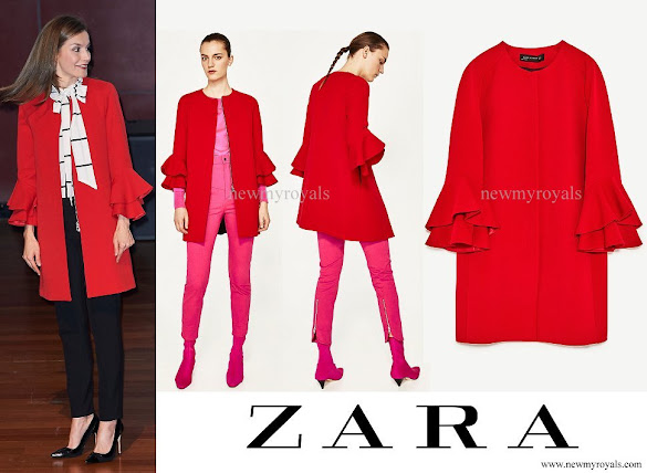 Queen Letizia wore ZARA frilled sleeve coat