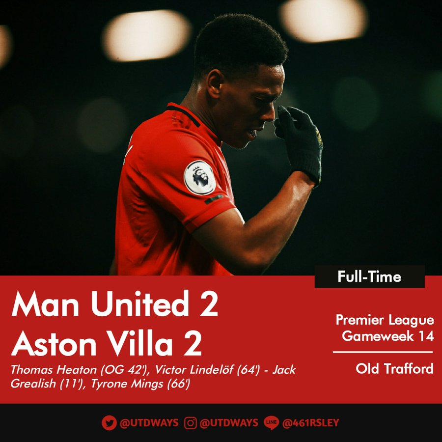Manchester United 2 2 Aston Villa Solksjaer Should Be