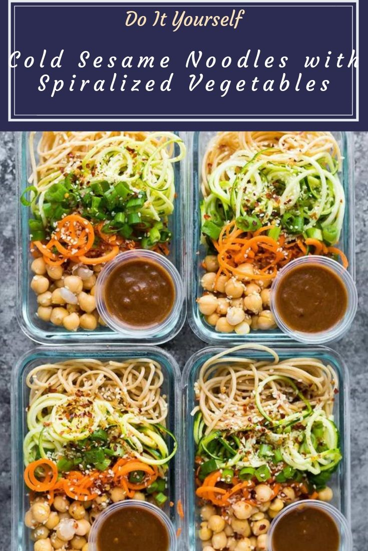 Cold Sesame Noodles with Spiralized Vegetables - These cold sesame noodle meal prep bowls are the perfect vegan prep ahead lunch: spiralized vegetables tossed with chickpeas and whole wheat spaghetti in a spicy almond butter sauce.