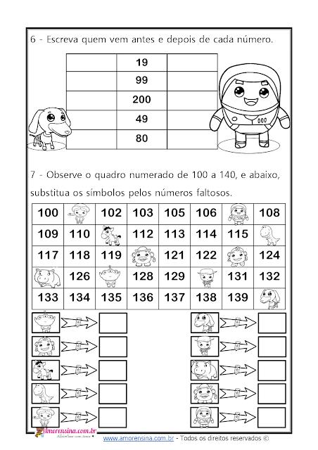 alfabetização matemática, atividade com sequência numérica, atividade de matemática 2º ano, adição
