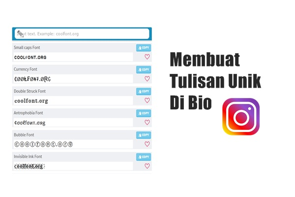 cara buat tulisan unik di bio instagram