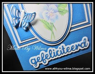 """Close-up van een vlinder en """"gefeliciteerd"""". Close-up of a butterfly and """"congratulations"""" (Dutch word)."""