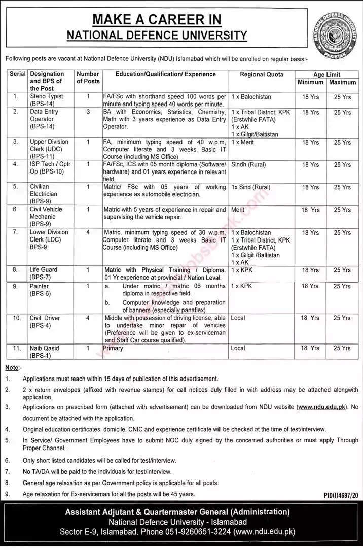 Latest Jobs in Pakistan National Defence University Islamabad Jobs 2021 | Download Application Form
