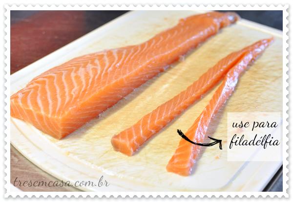 fazer sashimi de salmão