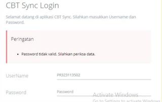 Password tidak valid
