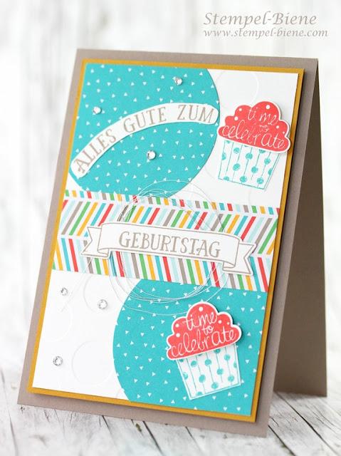stampinup Törtchenstanze; Stampin up Cupcake Party; Stampin up Geburtstagskarte; Match the Sketch; Stempel-Biene; Stampinup Auslaufliste 2016; Stampinup Jahreskatalog 2016-2017