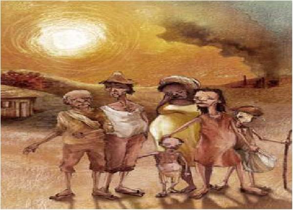 """Os Retirantes, de Candido Portinari. Obra inspirada no livro """"Vidas Secas""""."""