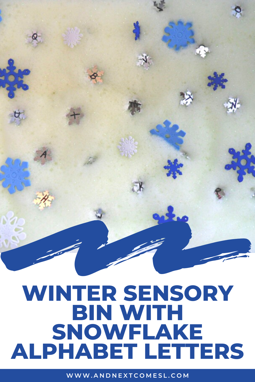 Winter sensory bin with snowflake alphabet letters for toddlers and preschool kids