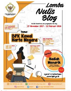 Lomba Menulis Blog Nasional 2018 dari BPK, Hadiah 25 Jt