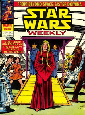 Star Wars Weekly #86, Sister Domina steps out of a spaceship as Han Solo, Luke Skywalker, R2D2, C3PO, Chewbacca and Princess Leia watch, cover by Carmine Infantino