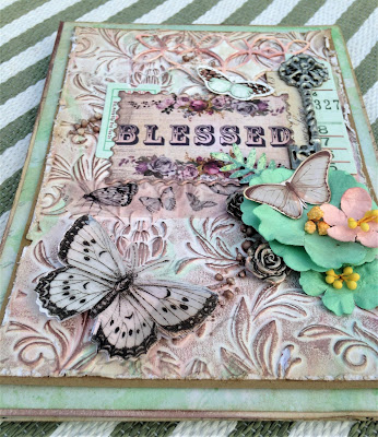 Sara Emily Barker http://sarascloset1.blogspot.com/ Prima Havana Shabby Chic Card #prima #havana #lavender #rosegoldwax #timholtz #3D embossing #botanicaltexturefade 2