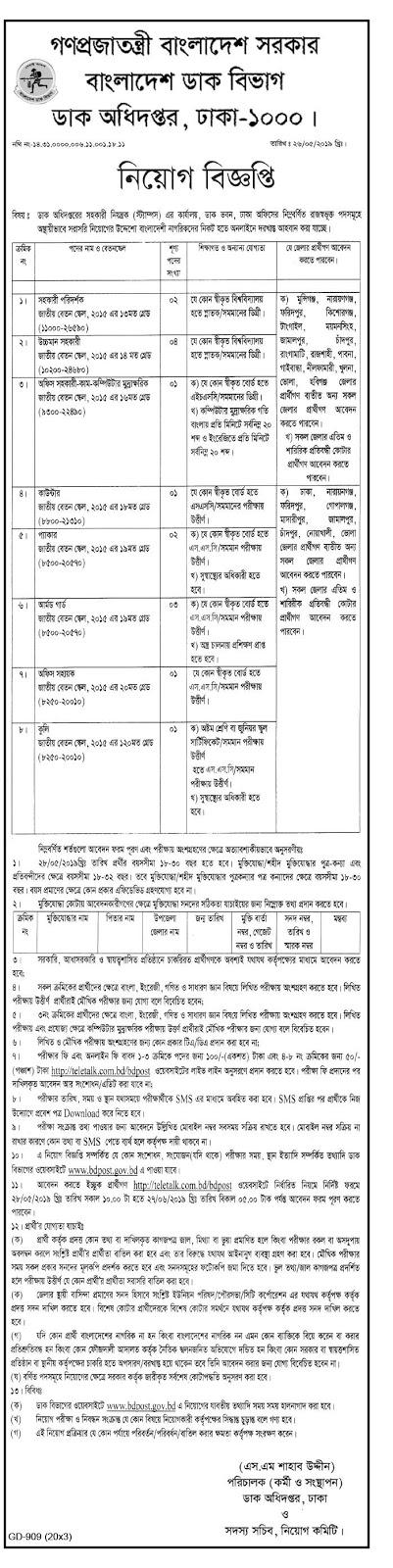Bangladesh Post Office Job Circular 2019