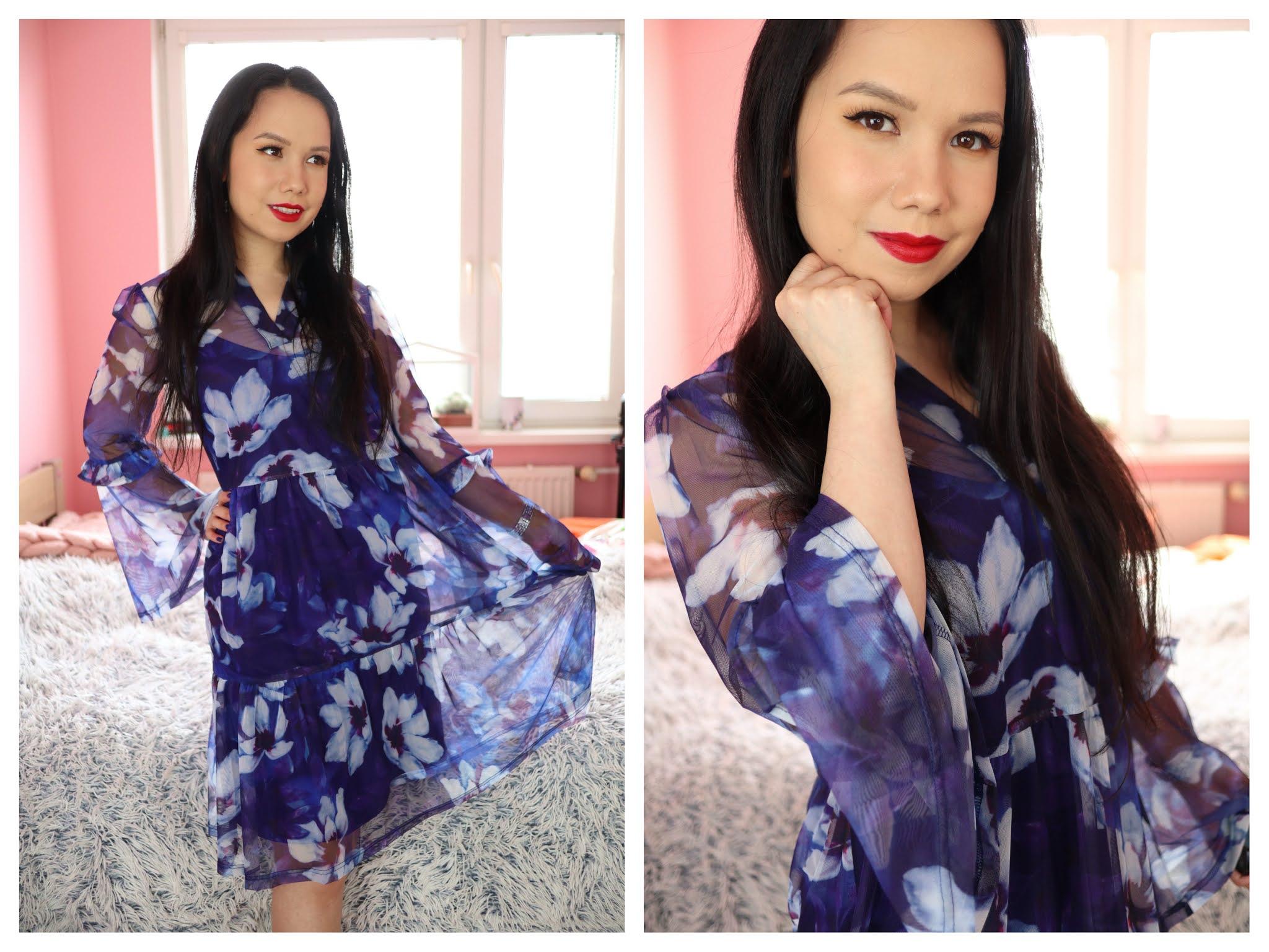 Modré kvetinové šaty Bonprix