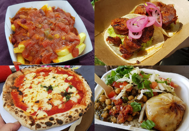 Just So Festival Review Food vendors meals collage chorizo taco tibetan momo bean chilli pizza