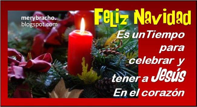 tarjeta con saludo navideño feliz navidad vela adornos de diciembre