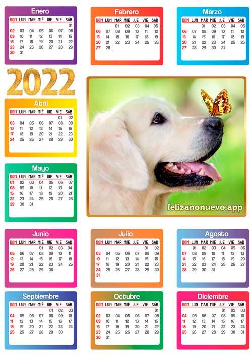 Calendario de perro del año 2022 para imprimir