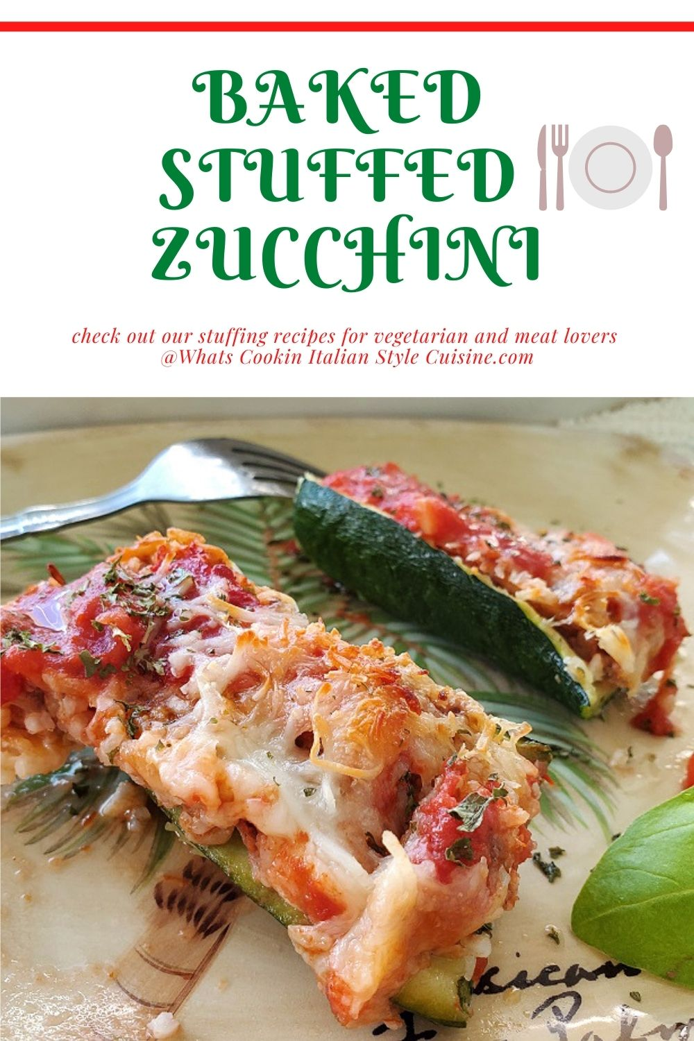 these are zucchini boats filled with meat, rice and cheese pin for later