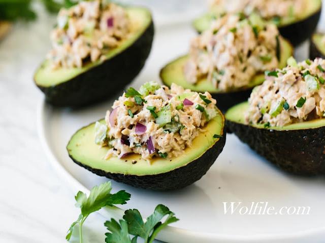 Tuna stuffed avocados Recipe #Healthy #Avocado #Salad