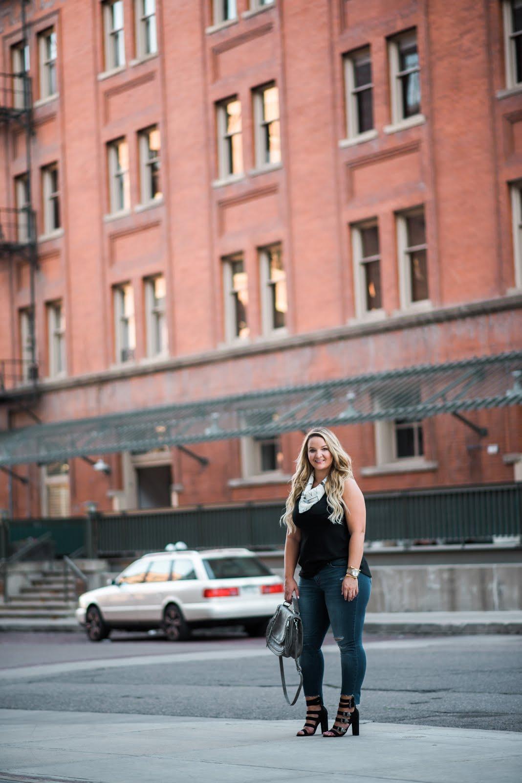 Beaded Scarf Making a Statement by Denver fashion blogger Delayna Denaye