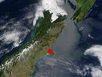 Position of Christchurch (red circle)