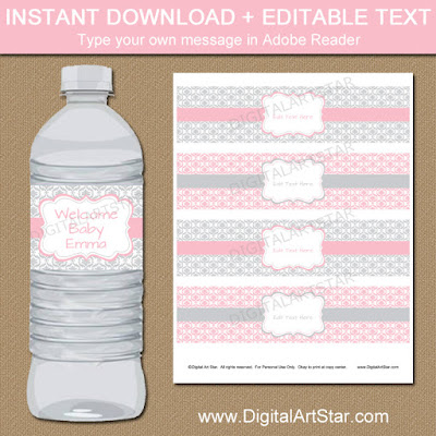 printable pink and gray baby shower water bottle labels