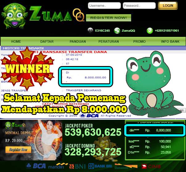 Selamat Kepada Pemenang Member Setia ZumaQQ Periode 7 September 2019