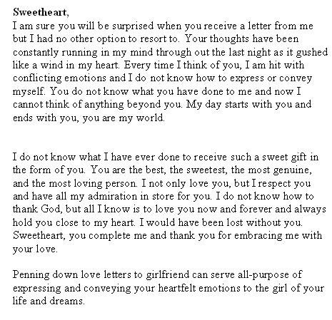 Sample Letters: Valentine's Day Love Letter to Girlfriend
