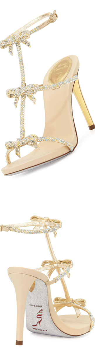 Rene Caovilla  Bow Crystal T-Strap Sandal, Gold