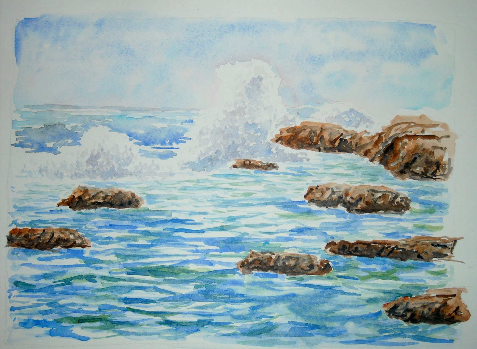 Artist Adron Watercolor Painting Of Sea Wave Crashing