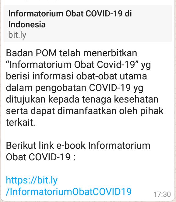"""Badan POM telah menerbitkan """"Informatorium Obat Covid-19"""" yg berisi informasi obat-obat utama dalam pengobatan COVID-19"""