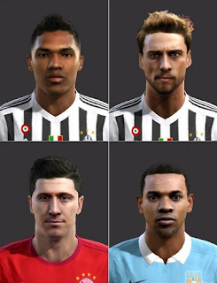 Faces, Alex Sandro, Marchisio, Lewandowski, Fernandinho, 2016 Pes 2013