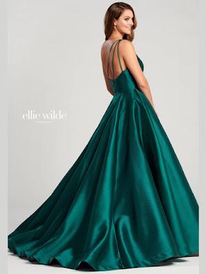 Ellie Wilde One-shoulder ball Gown emerald prom dress back side
