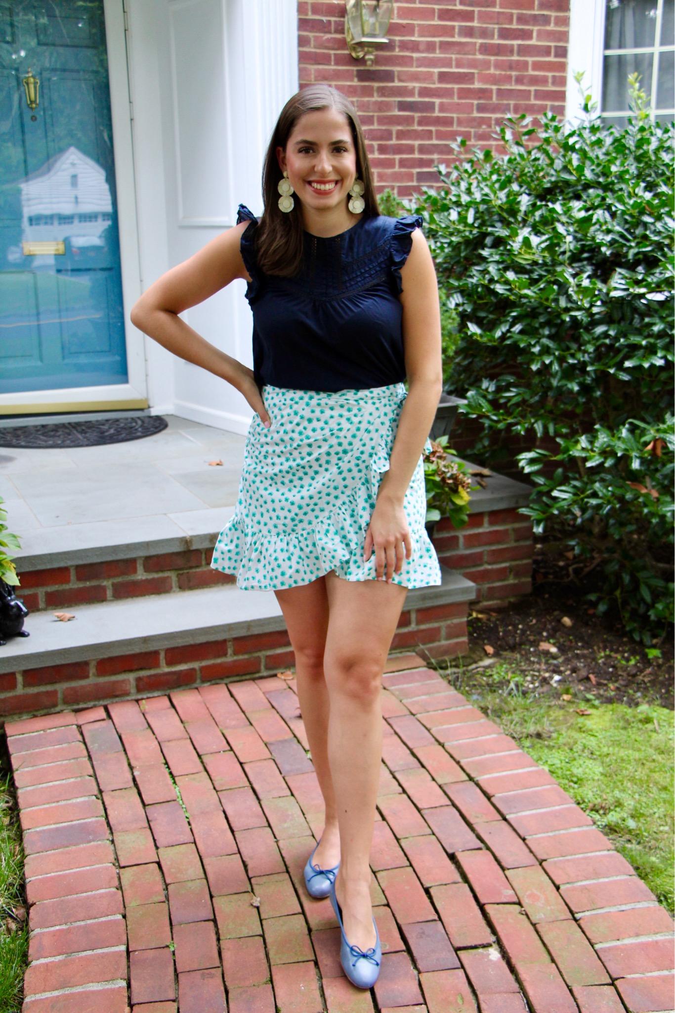 margaux ballet flats, ruffle skirt, navy blue top