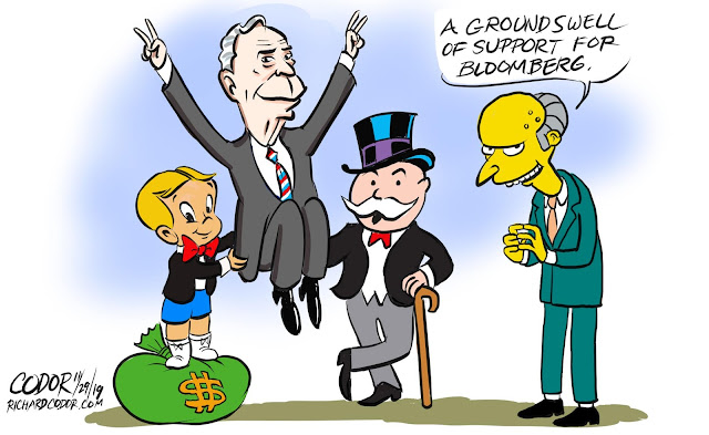 Richy Rich and the Monopoly Man raise Michael Bloomberg into the air as Mr. Burns cackles,