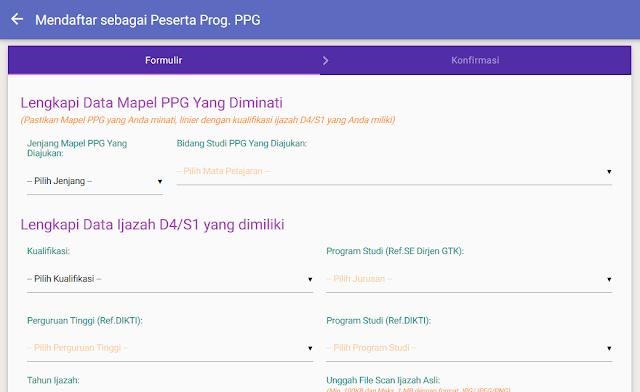 formulir Pendaftaran Program PPG