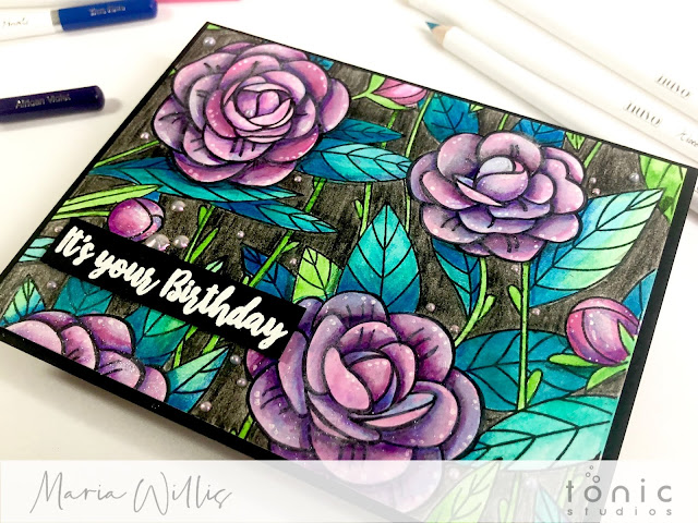 #maria willis, #cardbomb, #tonicstudios, #tonicstudiosusa, #tonicstudiosgardenparty, #nuvo, #cards, #cardmaking, #handmade, #handmadecards, #stamp, #ink, #paper, #papercraft, #craft, #create, #color, #pencils