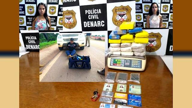 DENARC: Trio é preso com cerca de 20 kg de droga que saíram de Guajará-Mirim