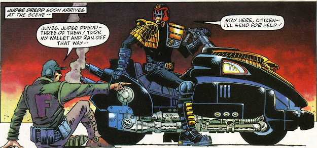 Judge Dredd astride his Lawmaster motorbike.