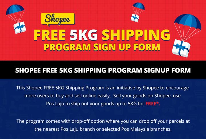 Kemudahan pos penghantaran percuma Shopee