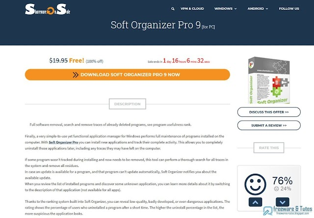 Offre promotionnelle : Soft Organizer Pro 9 gratuit !
