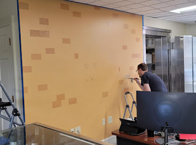 Grand Lodge of Maine. Master Architect Society. Mural in progress by Travis Simpkins and Janet Simpkins