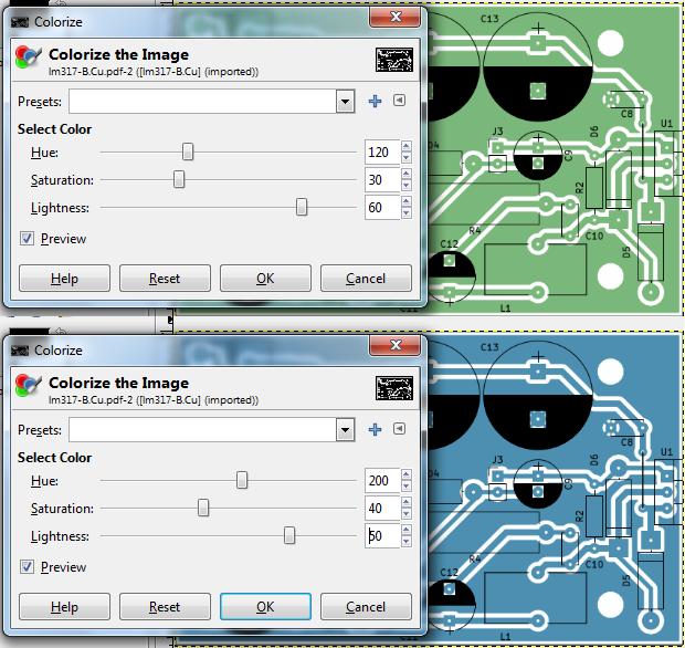Colorize copper layer in GIMP