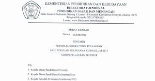 Surat Edaran Pembelian Buku Kurikulum 2013 Tahun Pelajaran 2017/2018