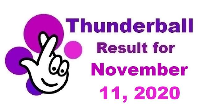 Thunderball Results for Wednesday, November 11, 2020