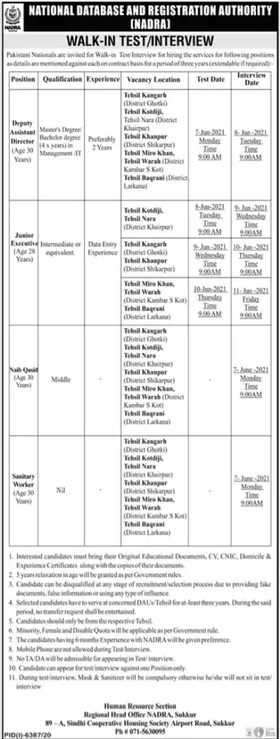 Pakistan NADRA Jobs 2021