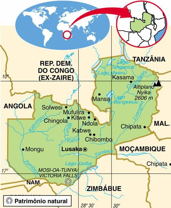 ZÂMBIA - ASPECTOS GEOGRÁFICOS E SOCIAIS DO ZÂMBIA