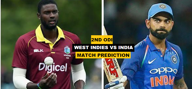 West Indies Vs India 2nd ODI-Cricket Match Prediction & Betting Tips