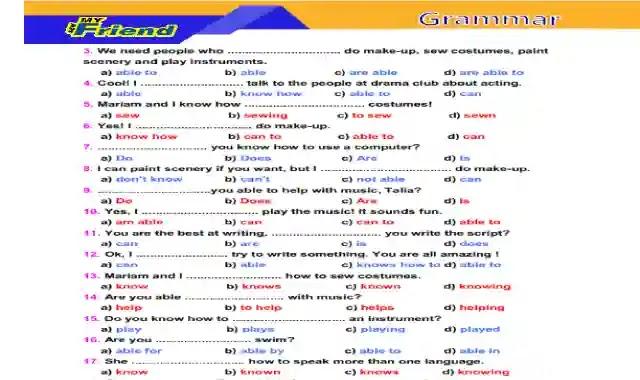 مراجعة منهج شهر ابريل فى اللغة الانجليزية للصف الثانى الاعدادى الترم الثانى 2021 اهداء من كتاب ماي فريند